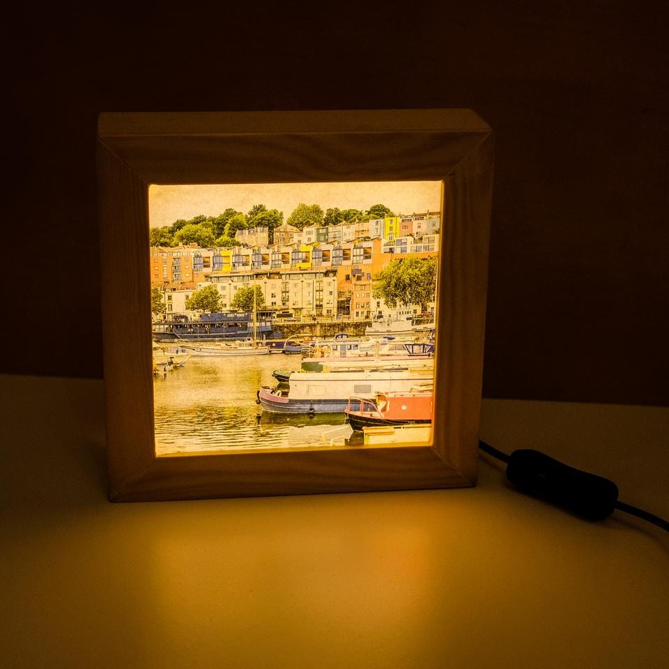 Bristol harbour print in backlit frame