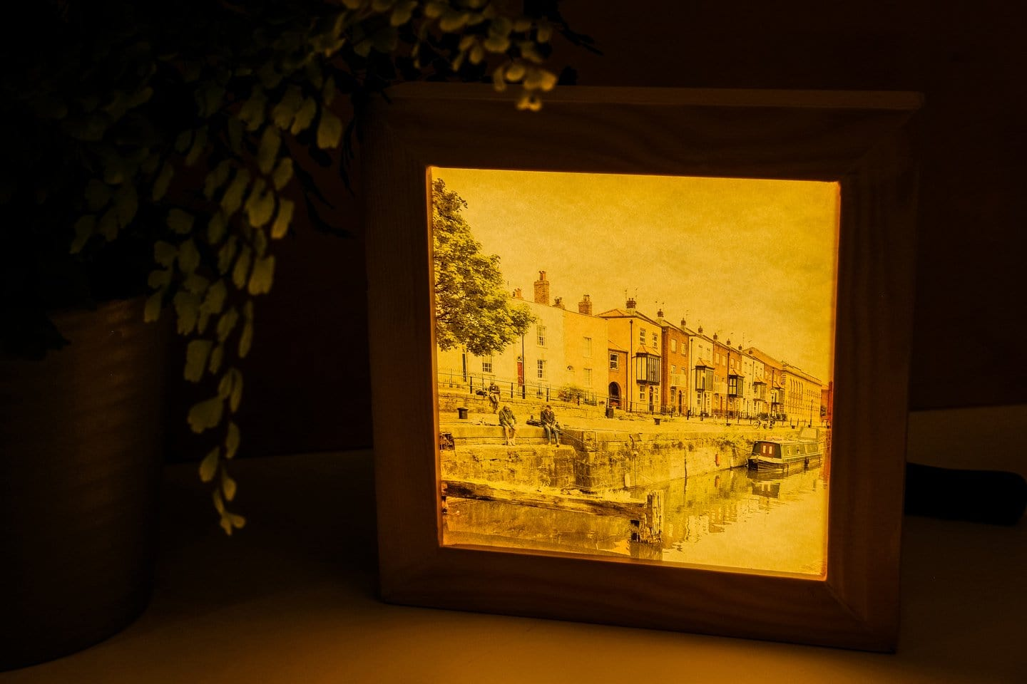 Wooden light boxes featuring images of the South West