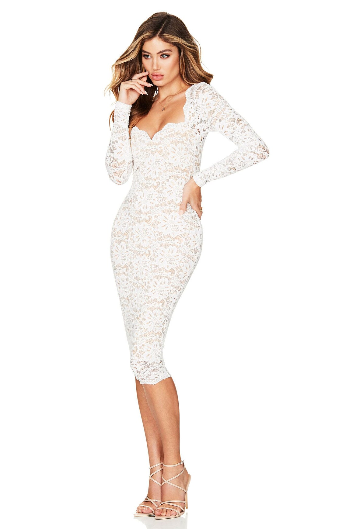 Romance Long Sleeve Midi - Ivory