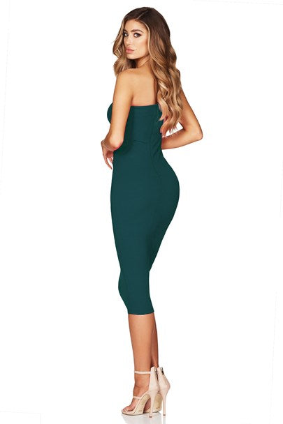 Lust One Shoulder Midi - Teal