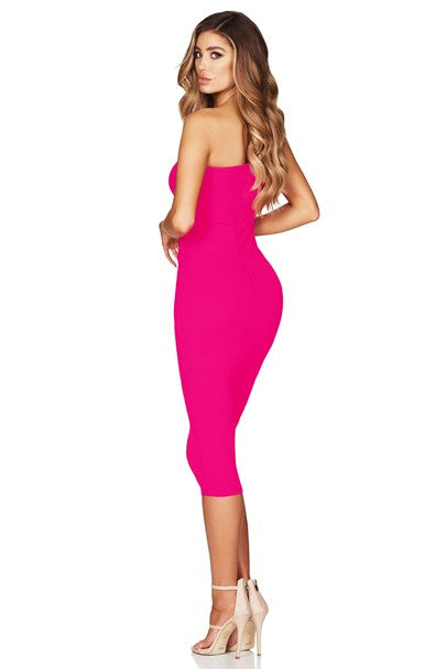 Lust One Shoulder Midi - Neon Pink