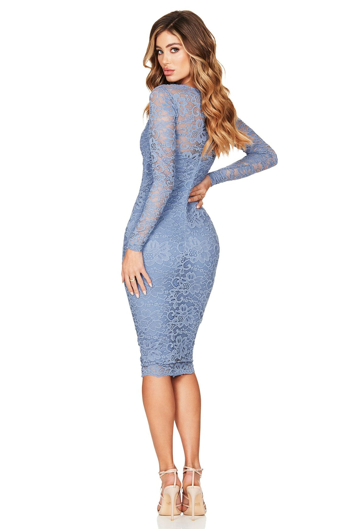 Romance Long Sleeve Midi - Dusty Blue