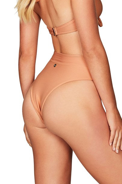 Savannah Rib High Waisted Brief - Nude