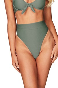 Savannah Rib High Waisted Brief - Khaki