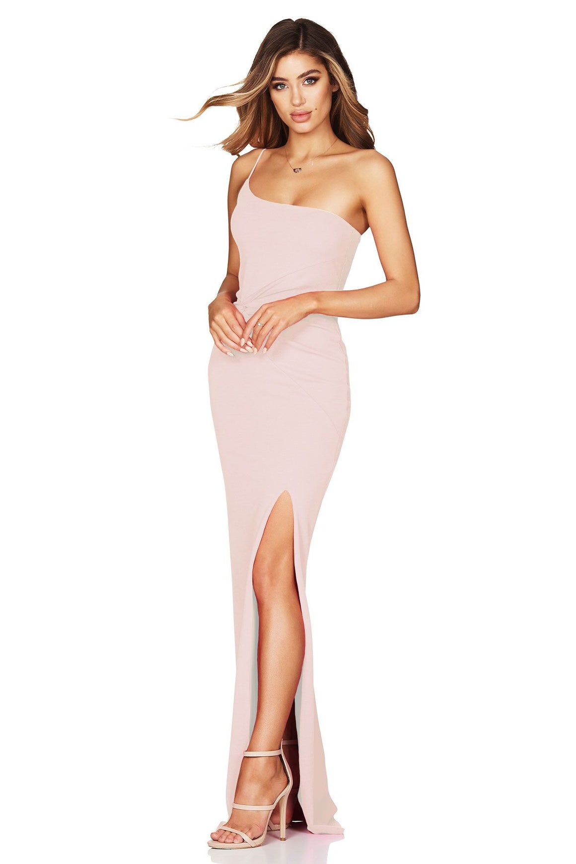 Lust One Shoulder Gown - Blush