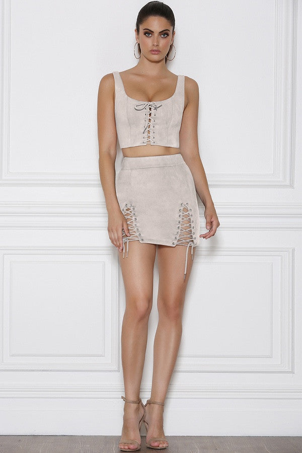 Bromley Mini Skirt - Stone