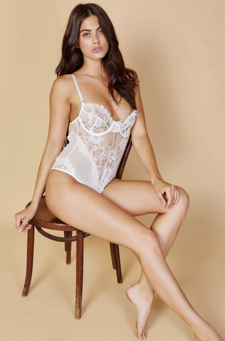 Chloe Lace Bodysuit - White