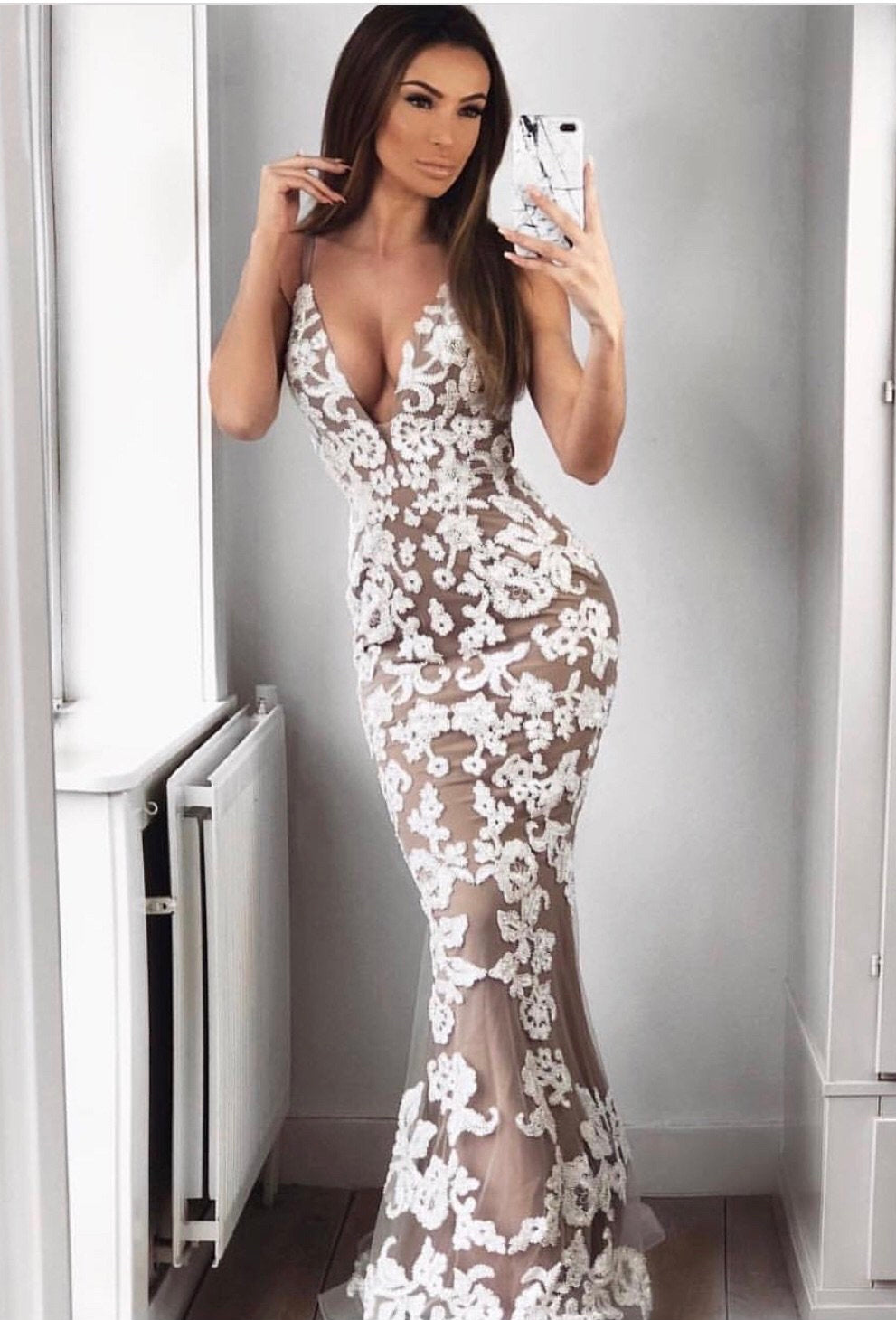 Layla Gown JX1106 - White / Nude