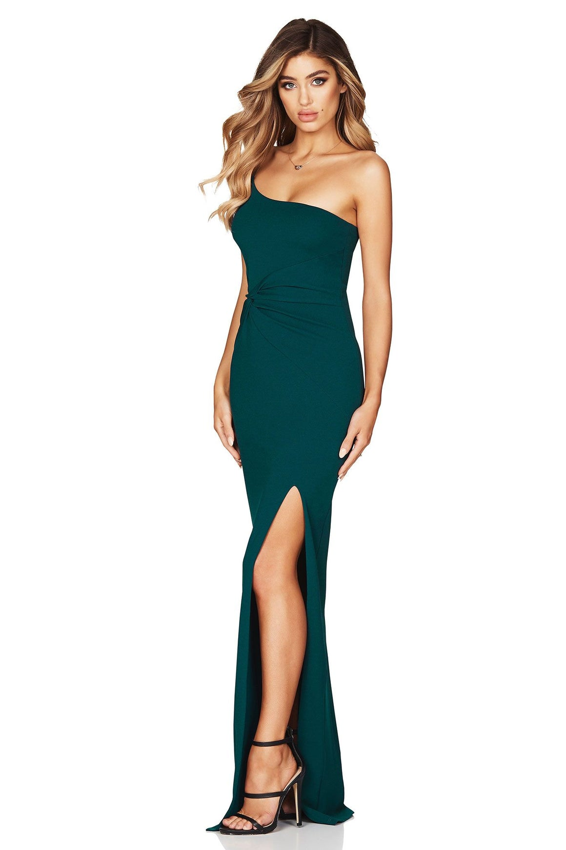Lust One Shoulder Gown - Teal