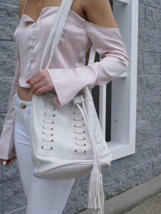 White Shoelace Bucket Bag | Claire de Lune Boutique