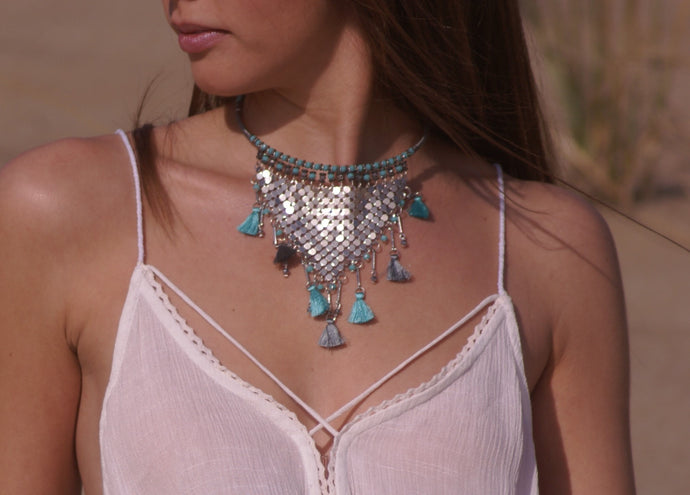 Turquoise Beaded Chain Necklace | Claire de Lune Boutique