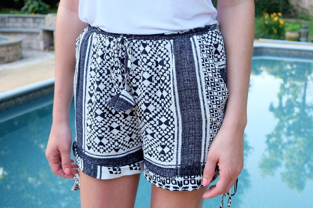 Azure Tribal Print Shorts | Claire de Lune Boutique
