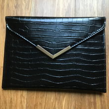 Felicia Faux Crocodile Envelope Clutch | Claire de Lune Boutique