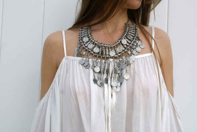Coin Statement Bib Necklace | Claire de Lune Boutique
