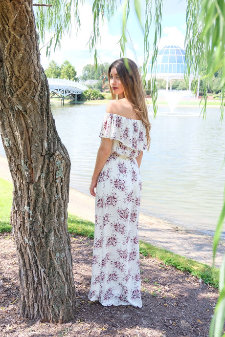 Blossom Off the Shoulder Maxi Dress | Claire de Lune Boutique