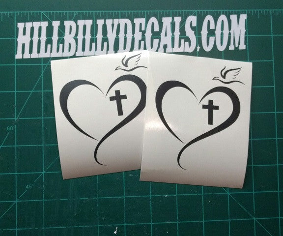 Cross in heart with dove vinyl decal