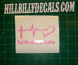 Pink Faith, Hope and Love Vinyl Decal