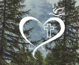 Cross in heart with dove vinyl decal - Hillbilly Decals