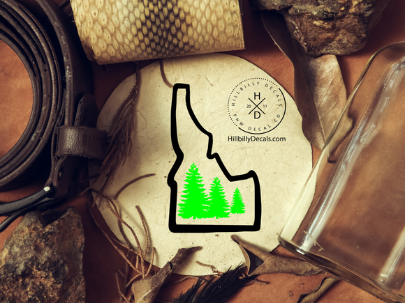 Idaho state with pine trees two color vinyl decal - Hillbilly Decals