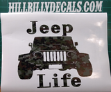 Camouflage Jeep Life Vinyl Decal - Hillbilly Decals