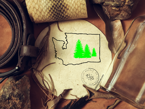 Washington state with pine trees two color vinyl decal - Hillbilly Decals