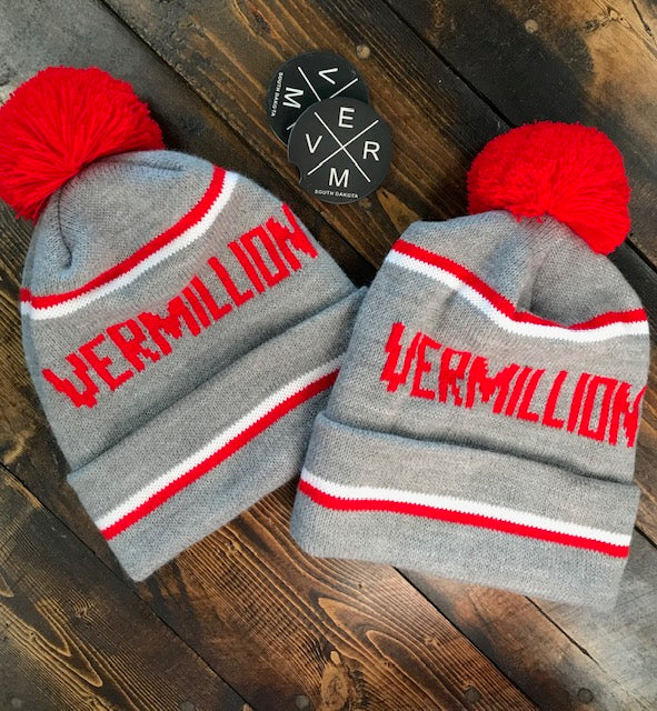 Vermillion Pom Stocking Hat
