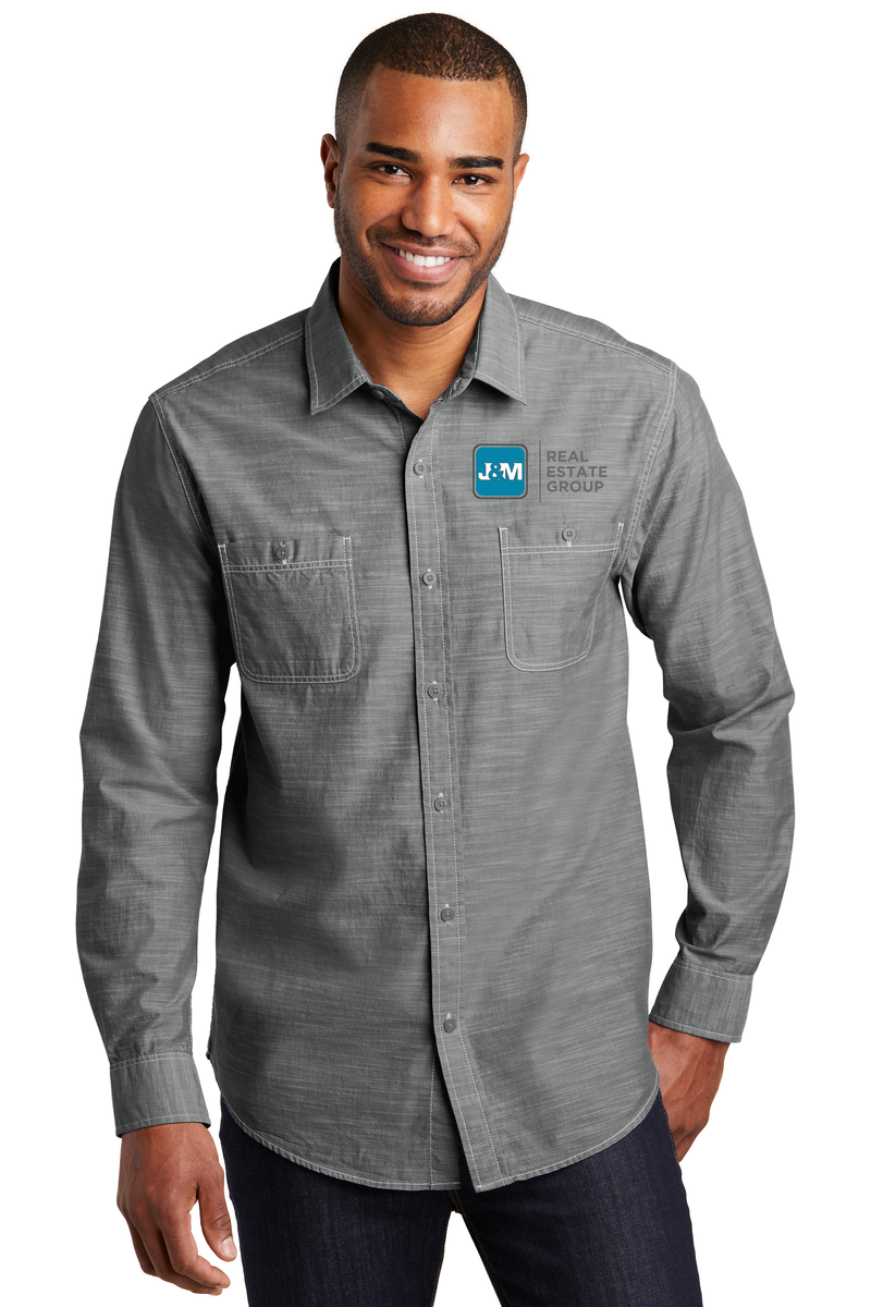 J&M Mens Slub Chambray Shirts