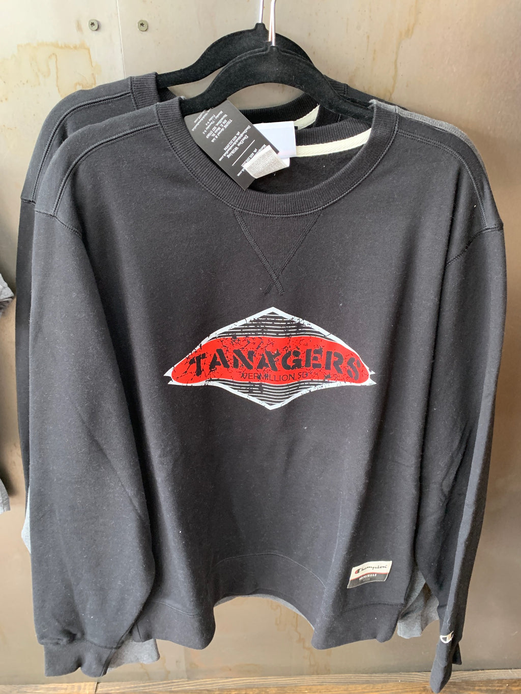Champion Black sweatshirt with two-color Tanagers logo - L