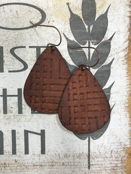 Crosshatch leather teardrops
