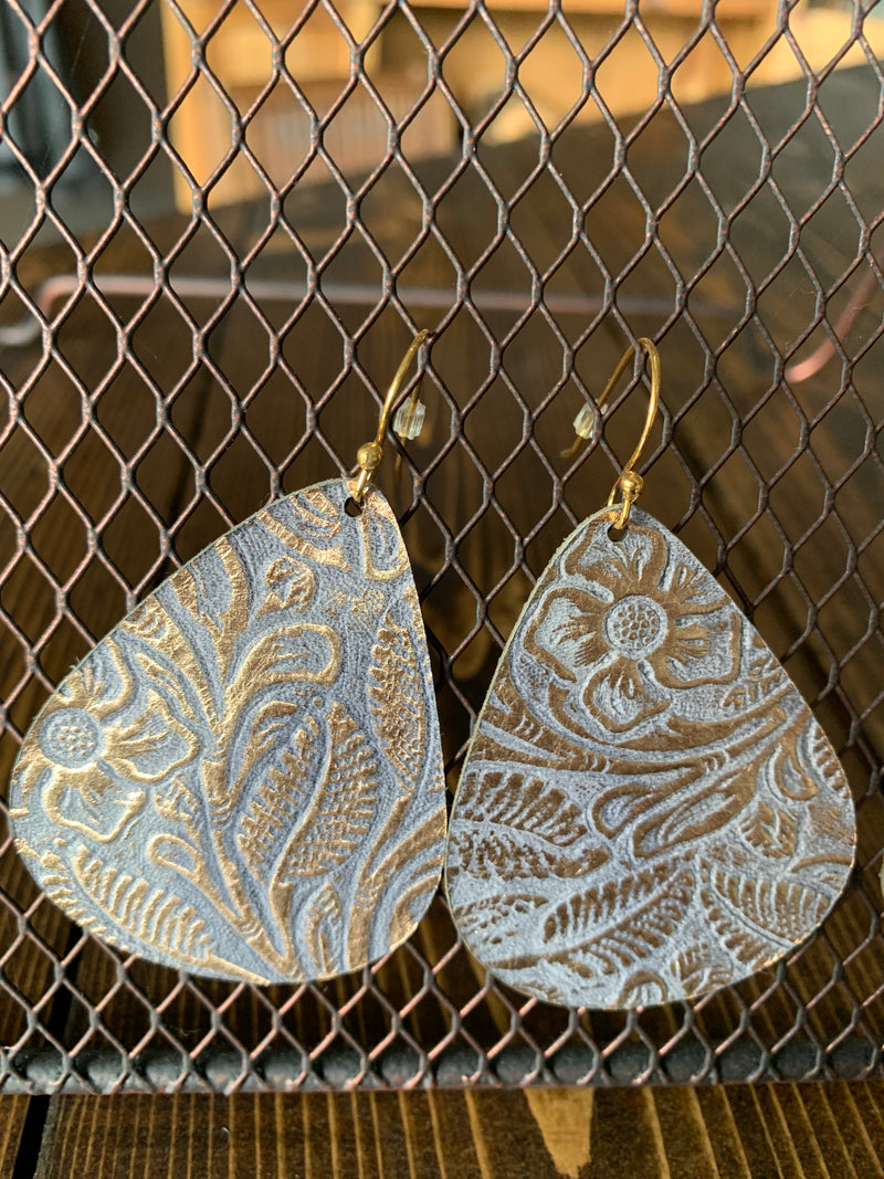 Gold and gray leather earrings - LG