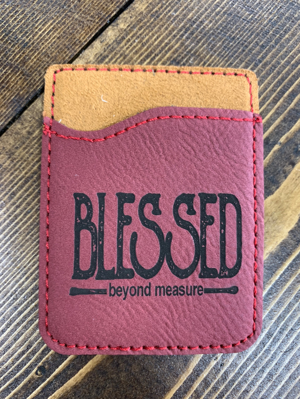 "Red leather card holder for cell phones ""Blessed"""