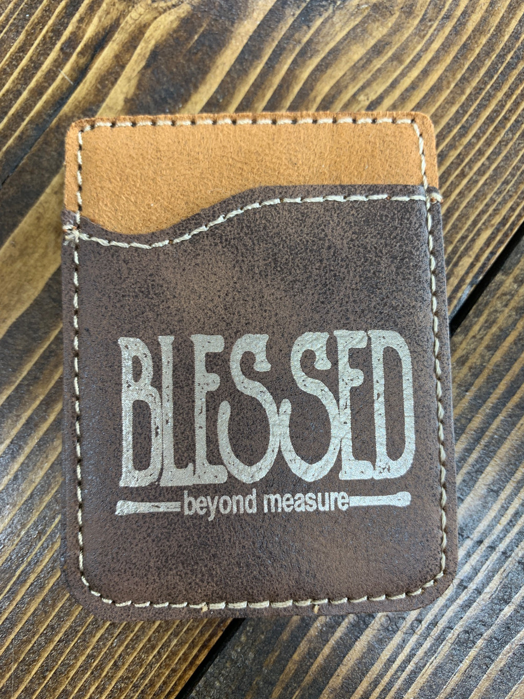 "Brown leather card holder ""Blessed"""