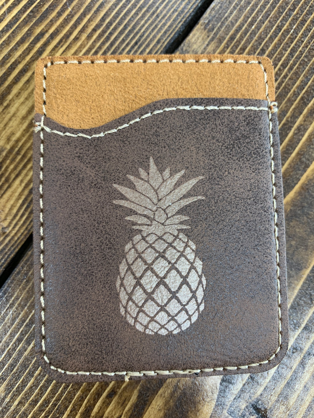 Brown leather engraved pineapple card holder