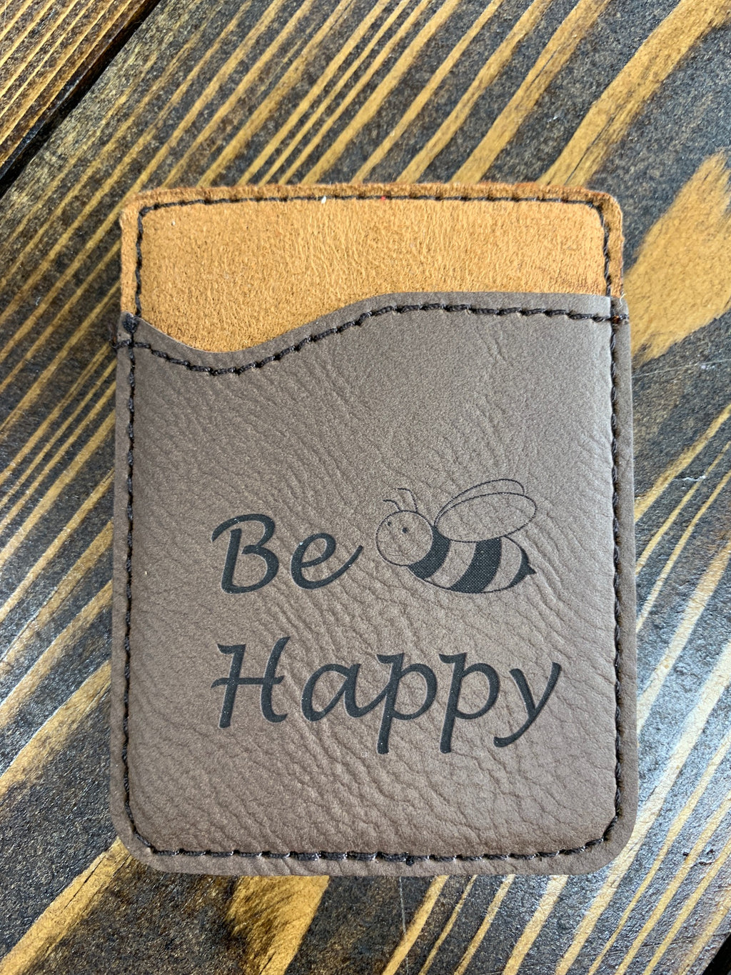 Brown leather engraved card holder Be Happy