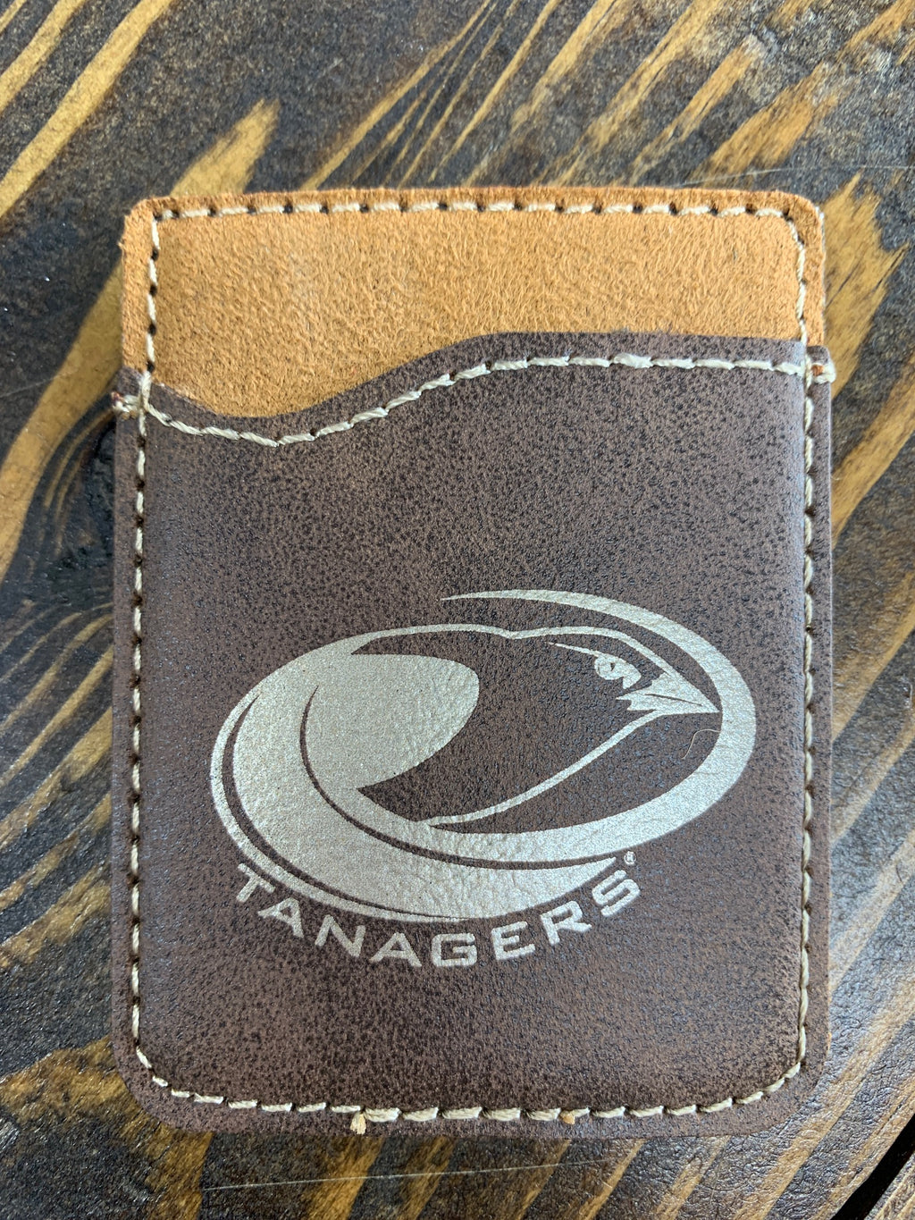 Brown leather Tanager logo card holder