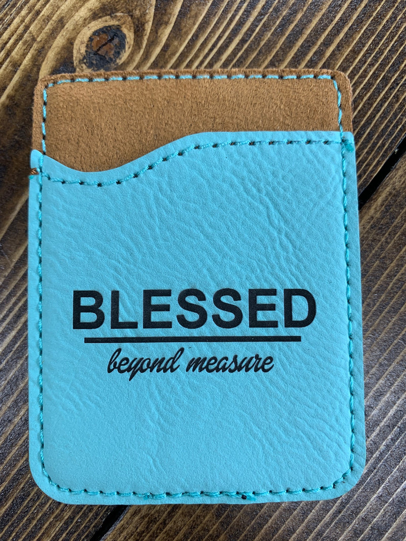 "Light blue leather card holder ""Blessed"""