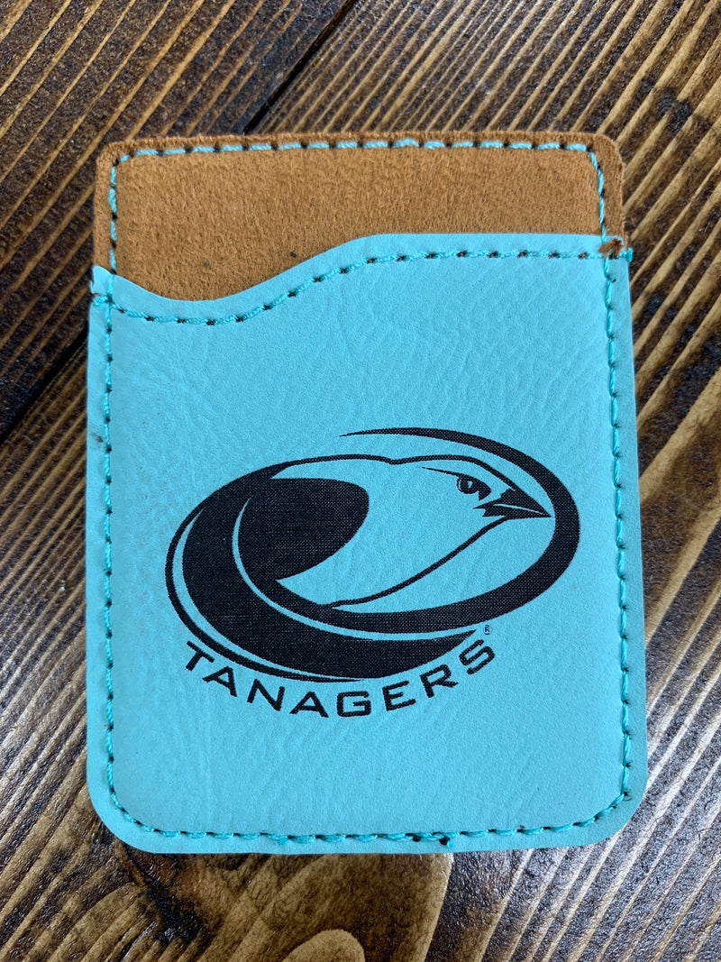 Light blue leather Tanagers card holder