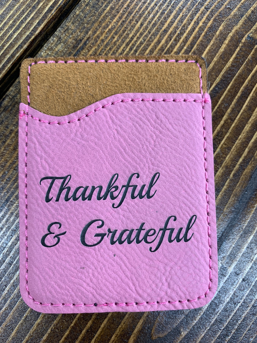 Pink leather card holder Thankful and Grateful