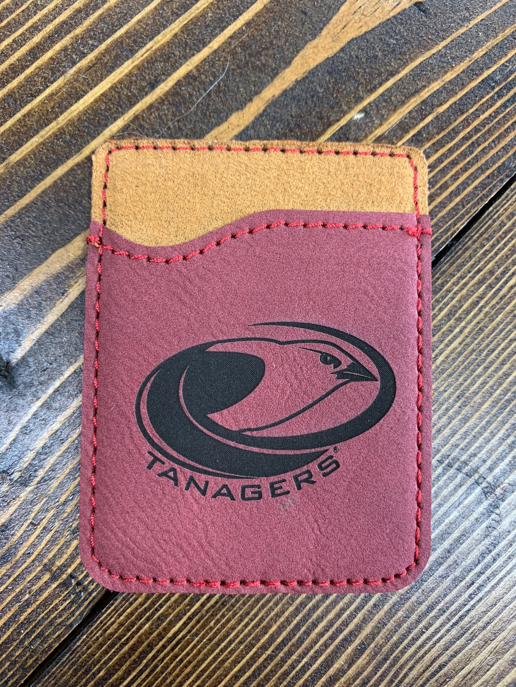 Red leather card holder Tanagers logo