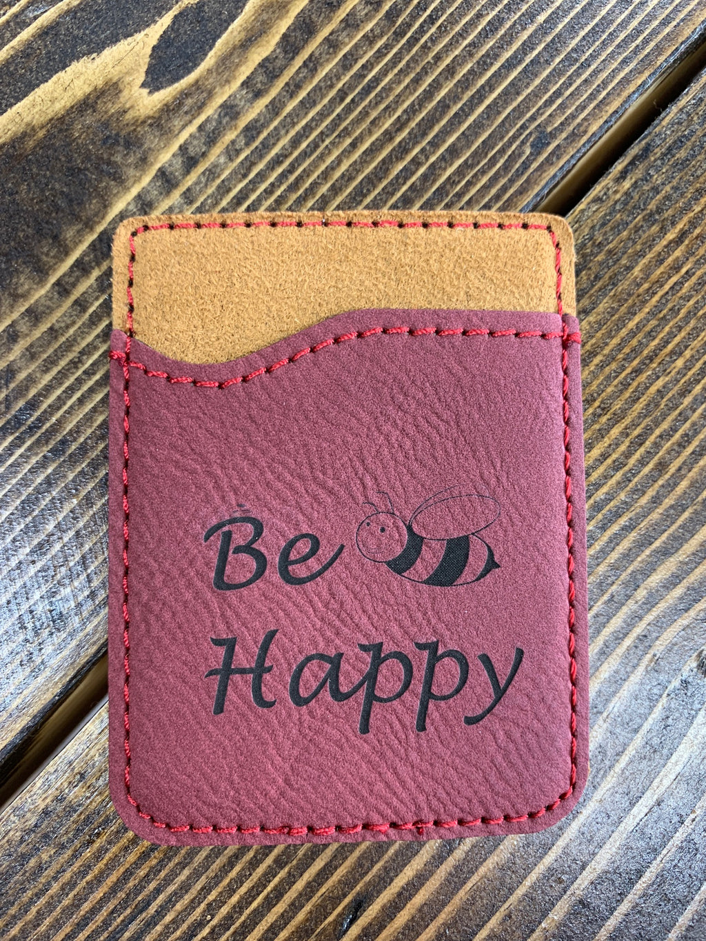 Red leather card holder Be Happy