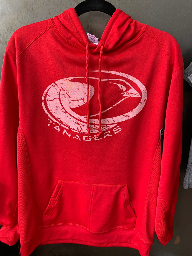 Red hooded sweatshirt poly Tanagers logo - M