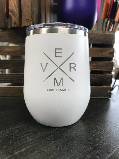 "White 16 oz. stemless cup ""To the river I go..."""