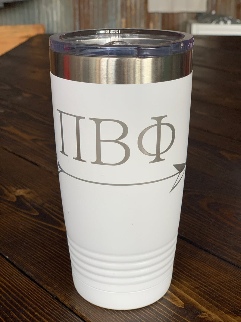 White 20 oz Pi Phi sorority mug