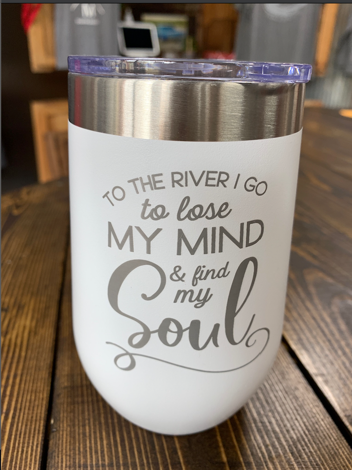 """Take me to the River"" - Black insulated cup 20 oz"