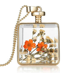 Dried Flower Square Necklace