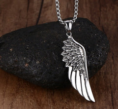 Gothic Angel Feather Pendant Necklace