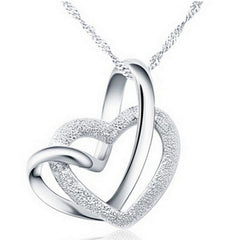 White Gold Plated Double Heart Necklace