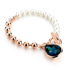 Rose Gold Blue Crystal Bracelet