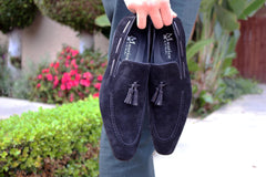 Carrucci by Maurice Suede Tasseled Loafer Black