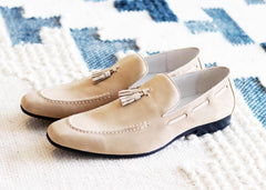 Carrucci by Maurice Suede Tasseled Loafer Bone